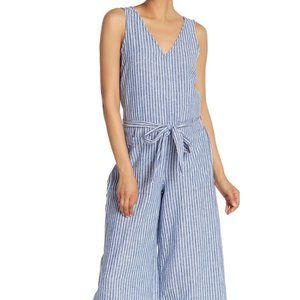 BeachLunchLounge Striped Linen Blend Jumpsuit Blue
